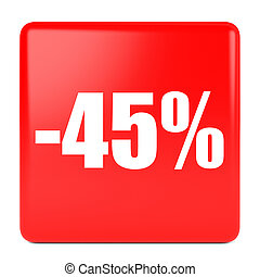 Forty five percent off. Discount 45 %. 3D illustration on...