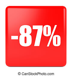 Eighty seven percent off. Discount 87 %. 3D illustration on...