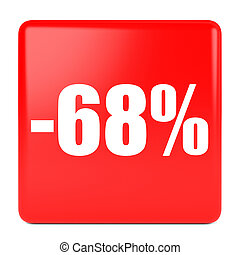 Sixty eight percent off. Discount 68 %. 3D illustration on...
