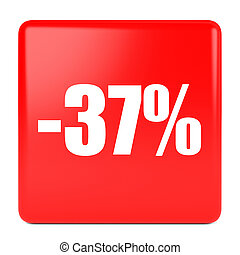 Thirty seven percent off. Discount 37 %. 3D illustration on...