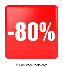 Eighty percent off. Discount 80 %. 3D illustration on white...