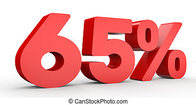 Sixty five percent off. Discount 65 %. 3D illustration on...