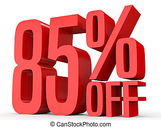 Eighty five percent off. Discount 85 %. 3D illustration on...