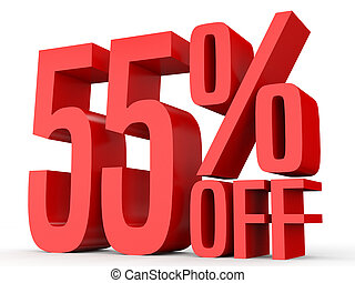 Fifty five percent off. Discount 55 %. 3D illustration on...