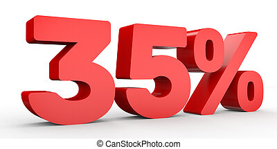 Thirty five percent off. Discount 35 %. 3D illustration on...