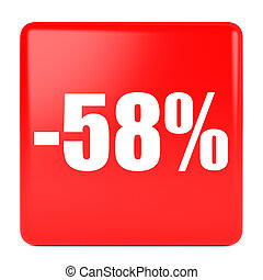 Fifty eight percent off. Discount 58 %. 3D illustration on...