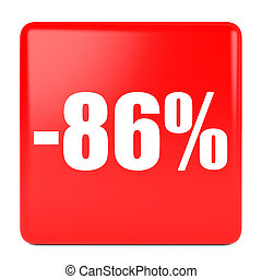 Eighty six percent off. Discount 86 %. 3D illustration on...