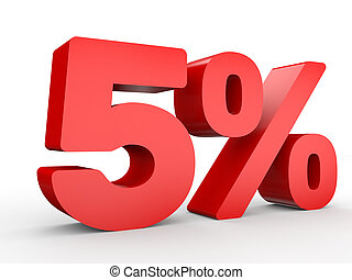 Five percent off. Discount 5 %. 3D illustration on white...
