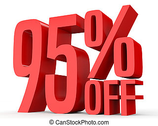 Ninety five percent off. Discount 95 %. 3D illustration on...