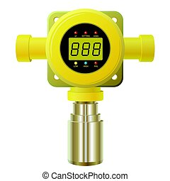 Vector gas detector. Yellow gas meter with digital LCD...