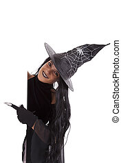 Halloween witch commercial message - halloween witch holding...