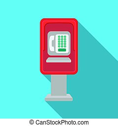 Payphone icon in flat style isolated on white background....