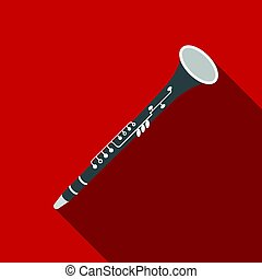 Oboe icon in flat style isolated on white background....