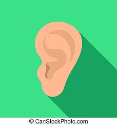 Ear icon in flat style isolated on white background. Part of...