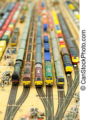 miniature goods yard - collection of model trains in an...
