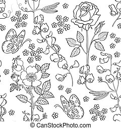 Hand drawn floral background - Vector illustration of...