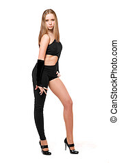 Attractive young woman in skintight black costume