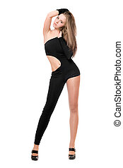 Leggy young woman in skintight black costume Isolated