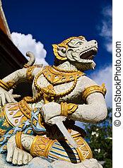 hanuman - The white sculpture of Hanuman posting in full...
