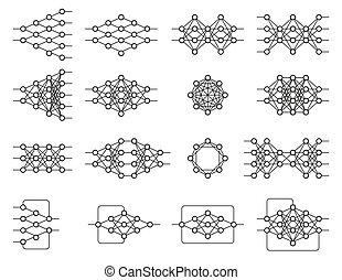 Set of different neural nets. Neuron network. Deep learning....