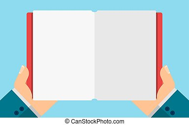 Business man holding a blank diary in hands. Empty space for your projects. Vector illustration in a flat style. Cover and paper pages