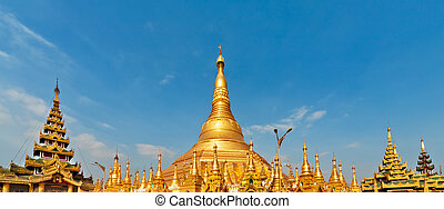 View of famous Myanmar pagoda Shwedagon in Yangon - View of...