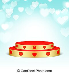 Golden pedestal with red hearts.