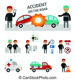 Car crash and accident on the road infographic elements. -...
