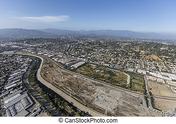 Los Angeles River at Historic Taylor Yard Site - Aerial view...
