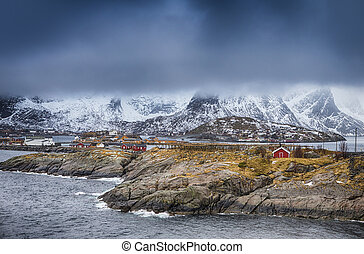 Travel Concepts and Ideas. Traditional Norwegian Fishing Hut...