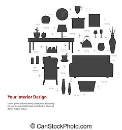 Housewares vector elements. Interior design round concept. -...