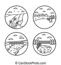 Landscape line vector illustartion - Landscape line...