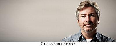 Man portrait - Handsome mature man portrait close-up over...