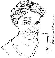Monochrome vector hand-drawn image, skeptic young woman....