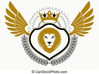 Vector illustration of old style heraldic emblem decorated with eagle wings and made with wild lion illustration and royal crown