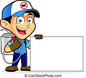 Exterminator or pest control holding blank sign - Clipart...