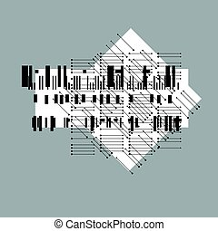 Abstract graphic art, vector geometric illustration.