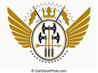 Classy emblem made with eagle wings decoration, hatchets and royal crown symbol.