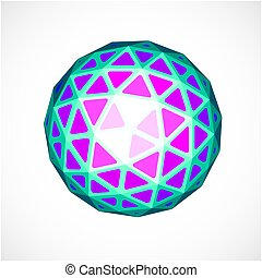 Dimensional vector purple low poly object, trigonometry...