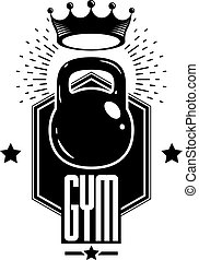 Sport logo for weightlifting gym and fitness club, retro stylized vector emblem or badge. With kettlebell.