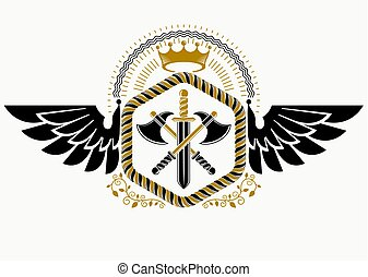 Classy emblem made with eagle wings decoration, armory and royal crown symbol. Vector heraldic Coat of Arms.