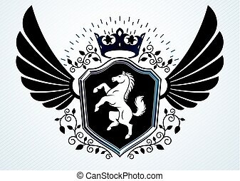 Vintage heraldry design template, vector emblem created using eagle wings, horse illustration and imperial crown.