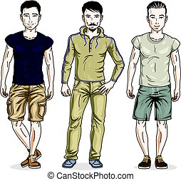 Handsome young men posing in stylish casual clothes. Vector set of beautiful people illustrations.