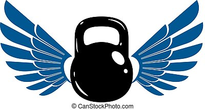 Bodybuilding weightlifting gym logotype sport template, retro style vector emblem with wings. With kettlebell.