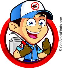 Exterminator or pest control in round frame - Clipart...