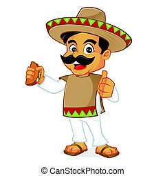 Mexican man holding taco isolated in white background