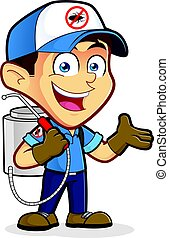 Exterminator or pest control in welcoming gesture - Clipart...