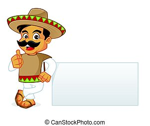 Mexican man leaning on blank sign isolated in white...