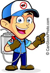 Exterminator or pest control presenting something - Clipart...