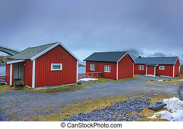 Travel Concepts and Ideas. Classic Red Houses In One of the...